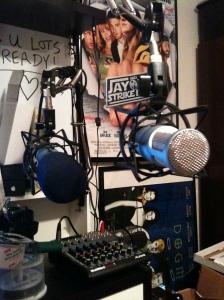 The microphones await...