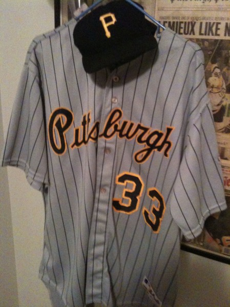 My Pirates jersey and cap. All for sale, along with my allegiances.