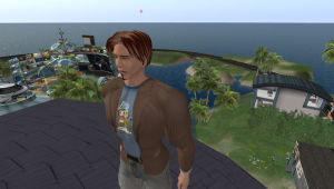 Corey Akula in Corona Cay, Second Life's hub for podcasters